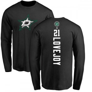 Men's Ben Lovejoy Dallas Stars Backer Long Sleeve T-Shirt - Black