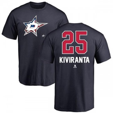 Men's Joel Kiviranta Dallas Stars Name and Number Banner Wave T-Shirt - Navy