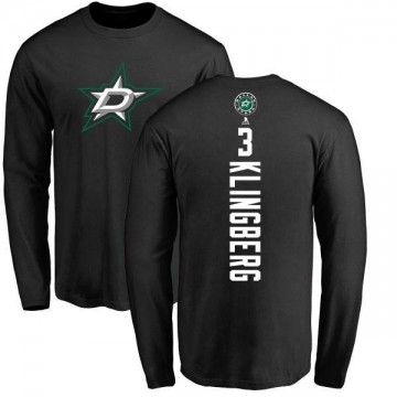 Men's John Klingberg Dallas Stars Backer Long Sleeve T-Shirt - Black