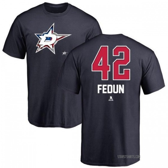 Men's Taylor Fedun Dallas Stars Name and Number Banner Wave T-Shirt - Navy