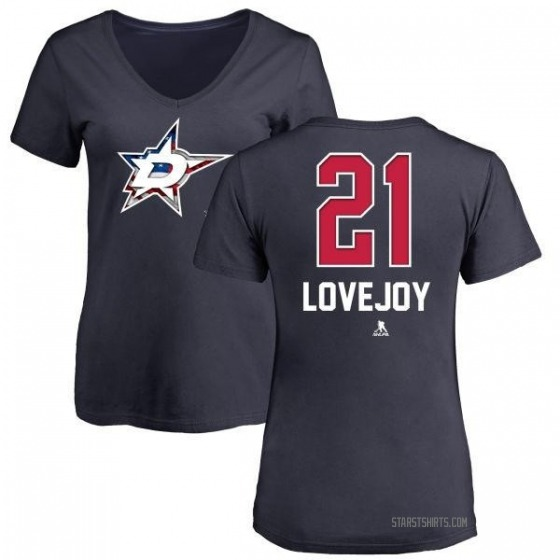 Women's Ben Lovejoy Dallas Stars Name and Number Banner Wave V-Neck T-Shirt - Navy