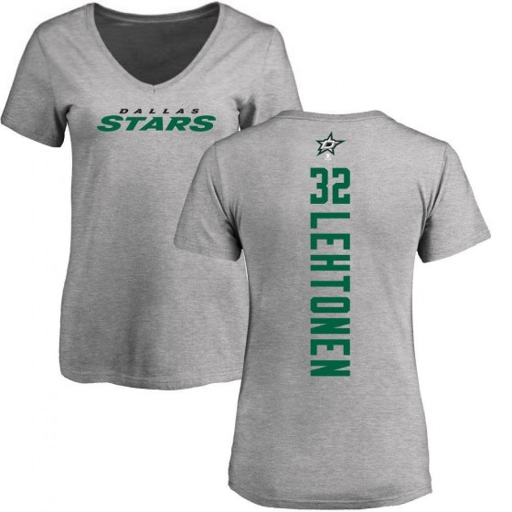 Women's Kari Lehtonen Dallas Stars Backer T-Shirt - Ash